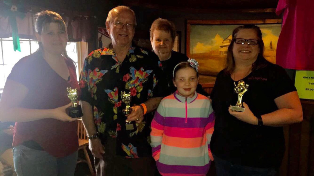 2017 Cook-off winners (from left holding trophies: Joy Fischer, Paul [and Corolla, behind] and Sandi Korshnak)